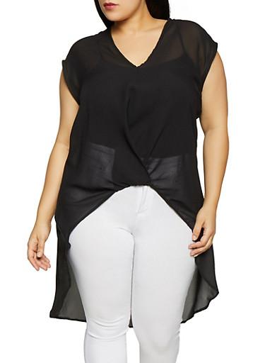 Plus Size High Low Top,BLACK,large