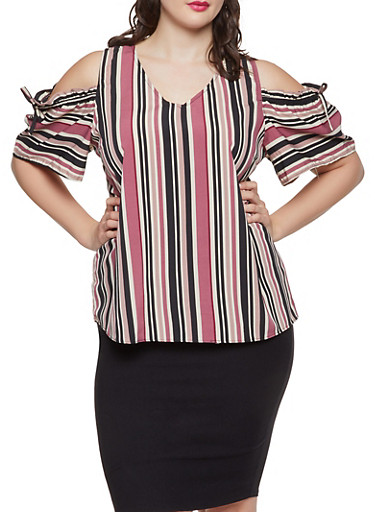 Plus Size Striped Cold Shoulder Top,BLACK,large