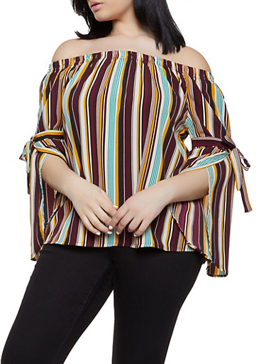 Plus Size Off the Shoulder Tie Sleeve Striped Top,MUSTARD,large