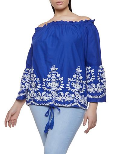 Plus Size Off the Shoulder Embroidered Hem Top,RYL BLUE,large