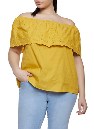 Plus Size Eyelet Ruffle Off the Shoulder Top,MUSTARD,large