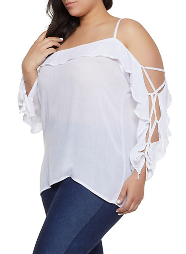 Plus Size Cold Shoulder Lace Up Sleeve Top,WHITE,large