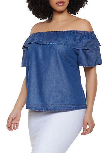 Plus Size Ruffled Off the Shoulder Chambray Top,DARK WASH,large