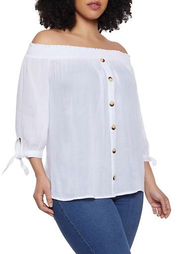 Plus Size Gauze Knit Off the Shoulder Top | 1803074015542,WHITE,large