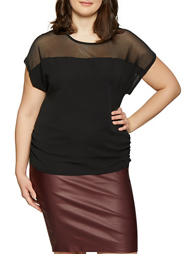 Plus Size Mesh Yoke Crepe Knit Top,BLACK,large