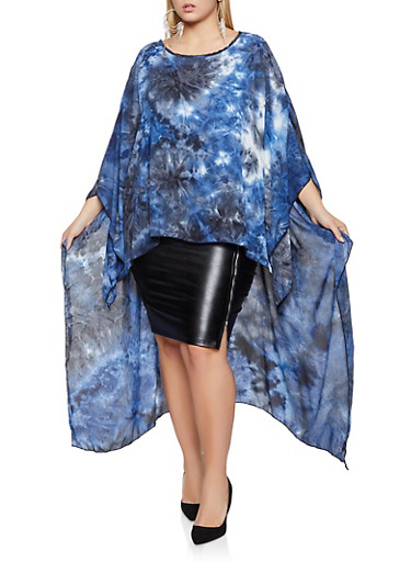 Plus Size Oversized High Low Tie Dye Top,NAVY,large