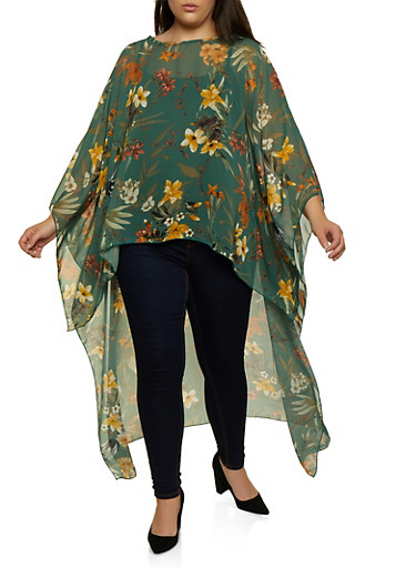 Plus Size High Low Chiffon Floral Top,OLIVE,large