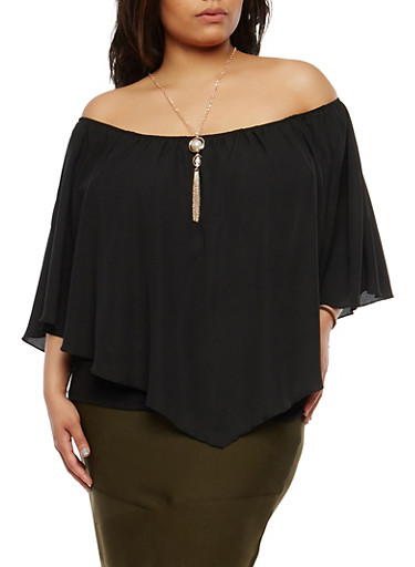 Plus Size Overlay Tank Top with Necklace,BLACK,large