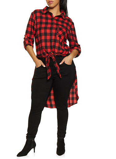 Plus Size Plaid High Low Tunic Shirt,RED,large