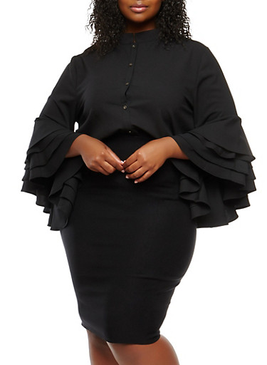 Plus Size Crepe Knit Bell Sleeve Top,BLACK,large