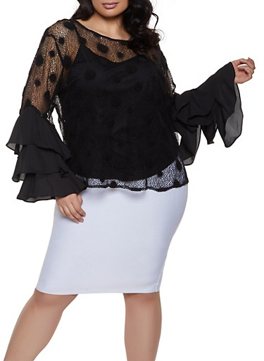 Plus Size Polka Dot Tiered Sleeve Fishnet Top,BLACK,large