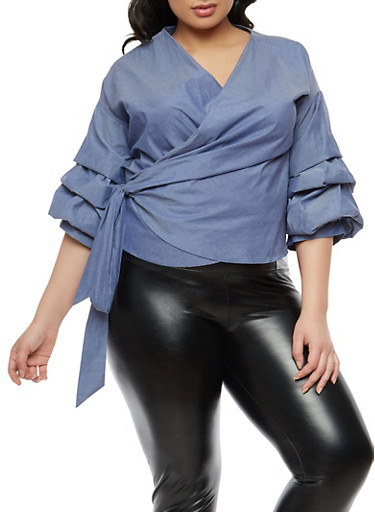 Plus Size Tiered Bubble Sleeve Wrap Top,BLUE,large