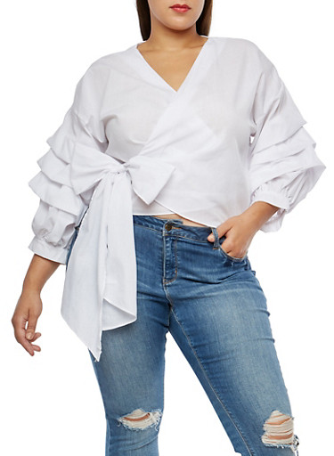 Plus Size Ruched Sleeve Wrap Front Top,WHITE,large