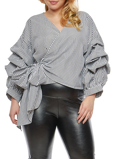 Plus Size Striped Tiered Sleeve Wrap Front Blouse,BLACK,large