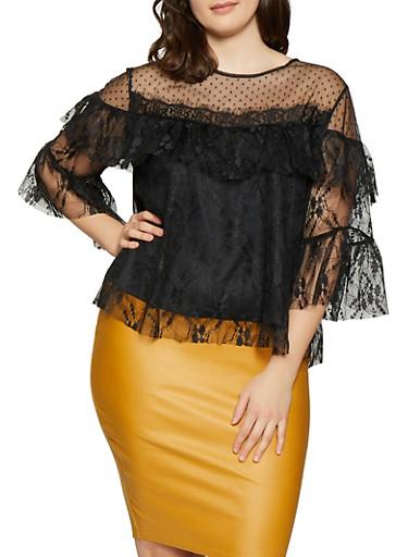 Plus Size Printed Mesh Top,BLACK,large