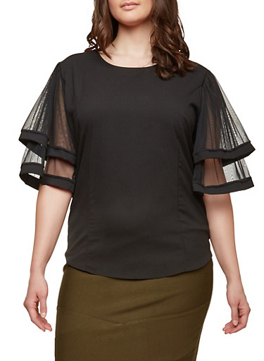 Plus Size Tiered Mesh Sleeve Top,BLACK,large