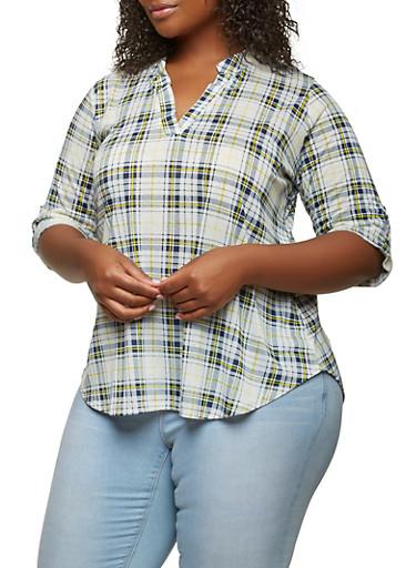 Plus Size Plaid Top,IVORY,large