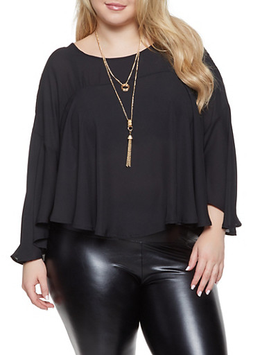 Plus Size Ruffled Dolman Sleeve Top with Necklace,BLACK,large