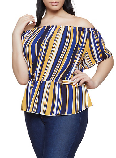 Plus Size Striped Off the Shoulder Button Tab Top,RYL BLUE,large