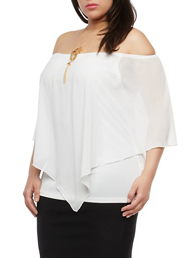 Plus Size Asymmetrical Overlay Top with Necklace,WHITE,large
