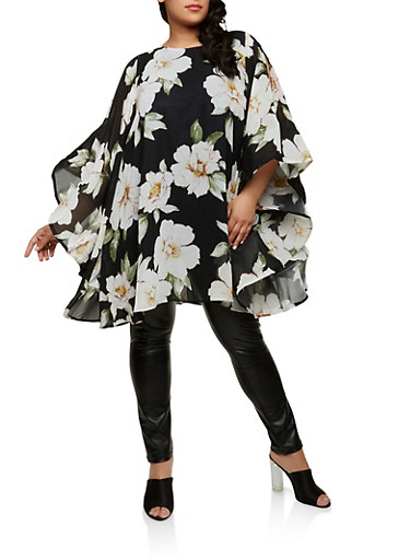 Plus Size Floral Wire Mesh Sleeve Tunic Top | Tuggl
