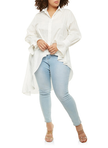 Plus Size Button Front High Low Shirt | Tuggl