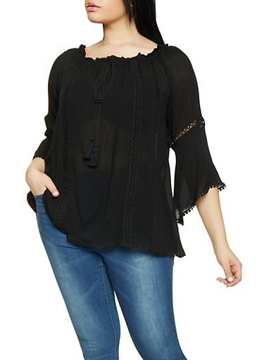 Plus Size Crochet Insert Off the Shoulder Peasant Top,BLACK,large