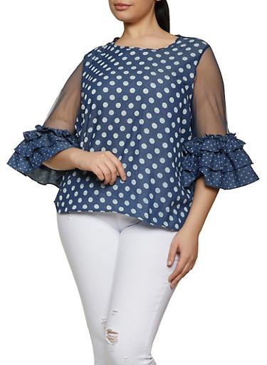 Plus Size Chambray Polka Dot Mesh Sleeve Top,BLUE,large