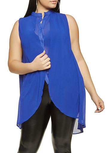 Plus Size Sleeveless Chiffon Overlay Shirt,RYL BLUE,large