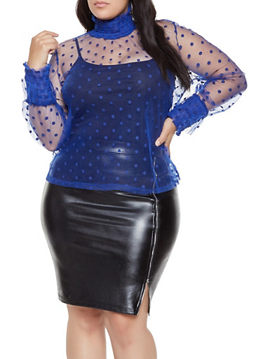 Plus Size Polka Dot Tulle Top,RYL BLUE,large