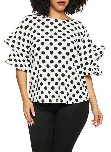 Plus Size Polka Dot Tiered Sleeve Top,WHITE,large