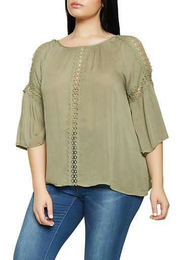 Plus Size Crochet Trim Bell Sleeve Top,OLIVE,large
