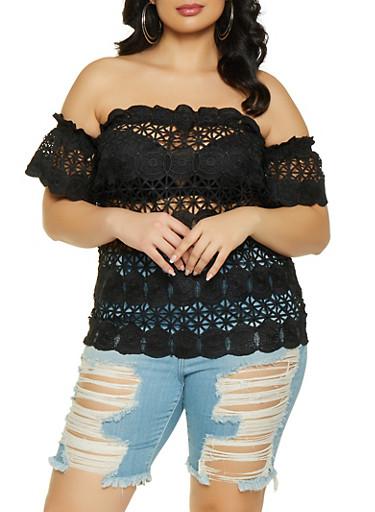 Plus Size Sheer Crochet Off the Shoulder Top,BLACK,large