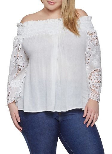 Plus Size Crochet Sleeve Off the Shoulder Peasant Top,WHITE,large