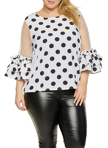 Plus Size Polka Dot Mesh Sleeve Top,WHITE,large