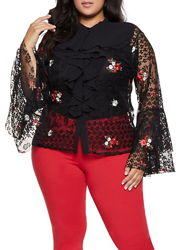 Plus Size Floral Embroidered Lace Shirt,BLACK,large
