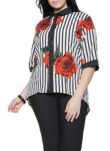 Plus Size Rose Striped High Low Shirt,BLACK/WHITE,large