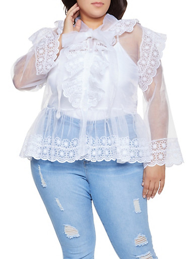 Plus Size Embroidered Organza Shirt,WHITE,large