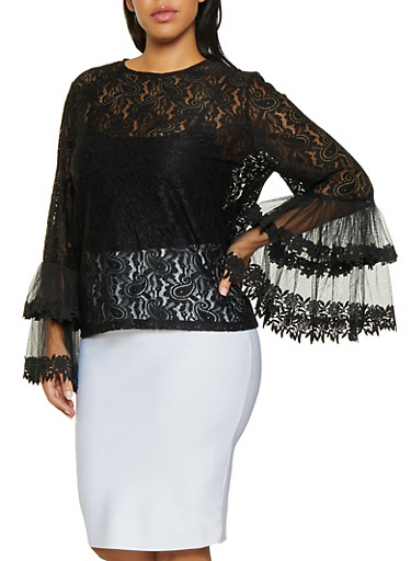 Plus Size Bell Sleeve Lace Top,BLACK,large