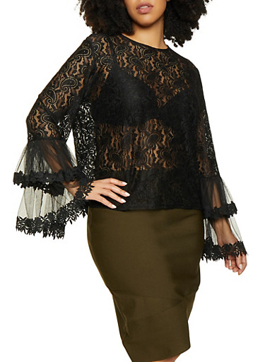 Plus Size Lace Bell Sleeve Top,BLACK,large
