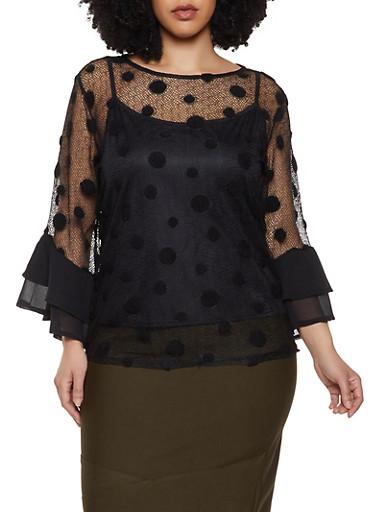 Plus Size Polka Dot Fishnet Top,BLACK,large