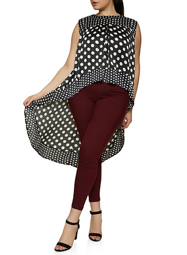 Plus Size Polka Dot High Low Top,BLACK/WHITE,large