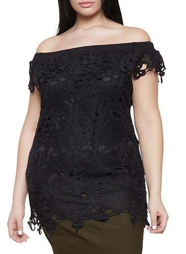 Plus Size Crochet Off the Shoulder Top,BLACK,large