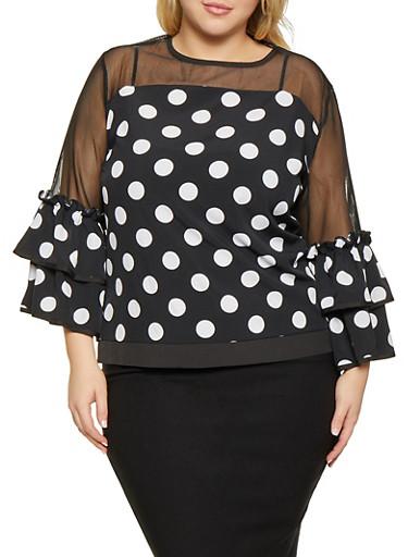 Plus Size Mesh Yoke Polka Dot Top,BLACK/WHITE,large