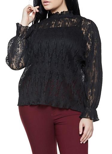 Plus Size Lace Keyhole Back Top,BLACK,large