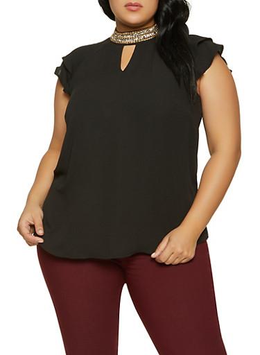 Plus Size Rhinestone Neck Tiered Sleeve Blouse,BLACK,large