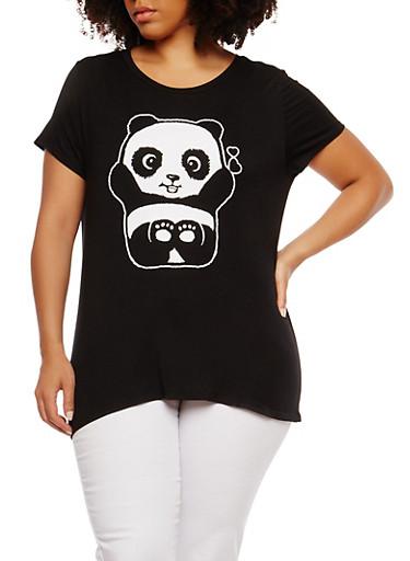 Plus Size Panda Graphic T Shirt,BLACK,large