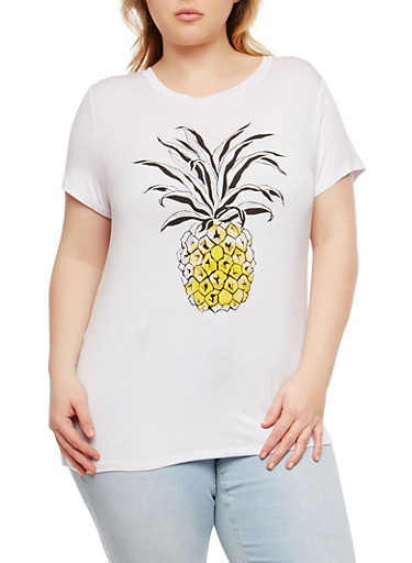 Plus Size Pineapple Graphic T Shirt,WHITE,large