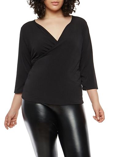 Plus Size Faux Wrap Top,BLACK,large