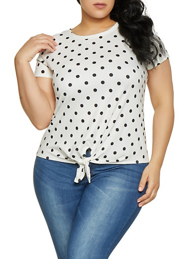 Plus Size Polka Dot Tie Front Tee,IVORY,large